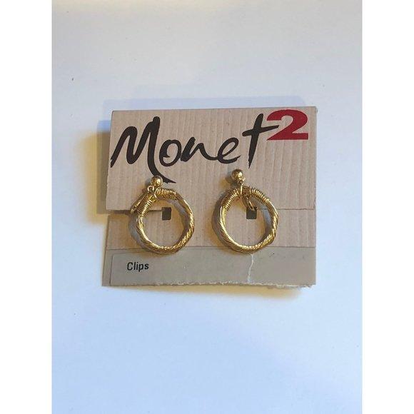 Monet 2 Brand Gold Tone Clip on Earrings